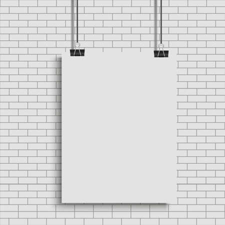 White poster hanging on binder. Transparent background with mock up empty paper blank. Vector.