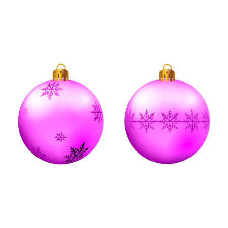 Purple Christmas ball Vector illustration on white background.