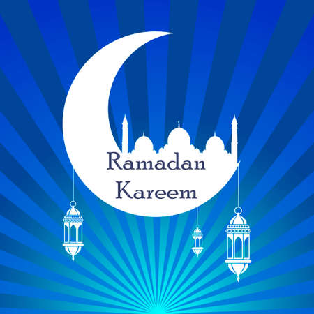 Ramadan kareem. Islam religion holiday. Vector