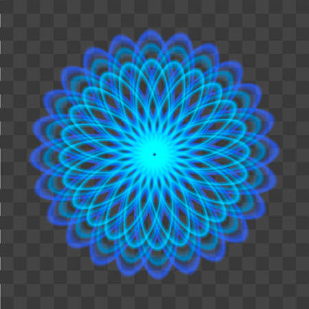 Abstract pattern with neon blue circles like a flower Illustration