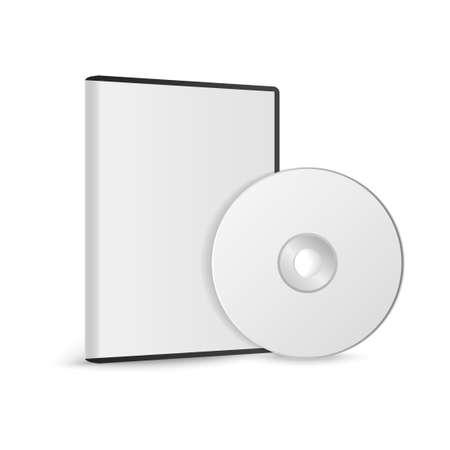 DVD または CD ディスク付きの DVD または CD ディスクのリアルなケース。コンパクト ディスク。ベクトルイラストレーション。   イラスト・ベクター素材