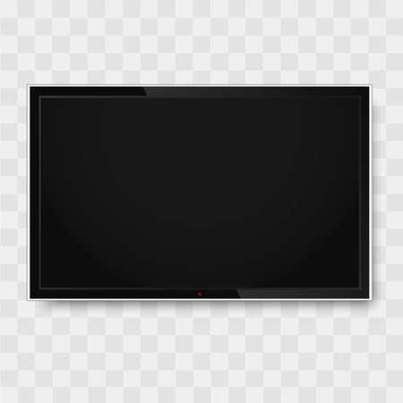 Black monitor on transparent background.