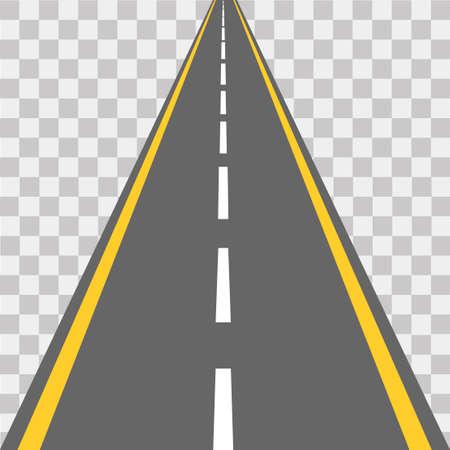 Carretera, calle con asfalto. Autopista. Ilustración vectorial