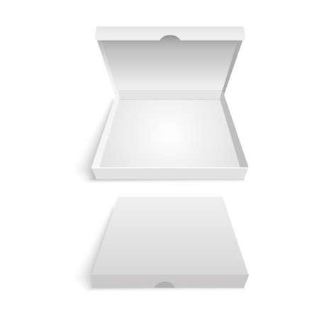 Modello di imballaggio scatola di pizza bianca. Illustrazione vettoriale