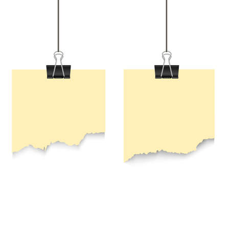 Torn paper hanging on a thread. Vector. Banque d'images - 90450895