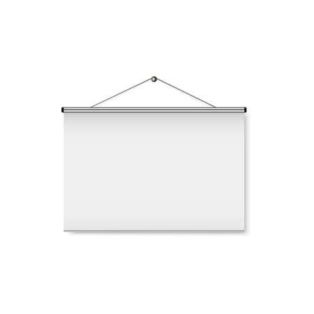 Pantalla de proyección portátil realista en blanco. Ilustración vectorial Foto de archivo - 90457012