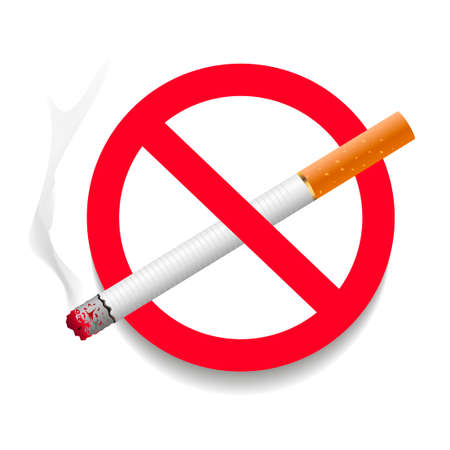 No smoking area label. Detailed sign no smoking. Vector.