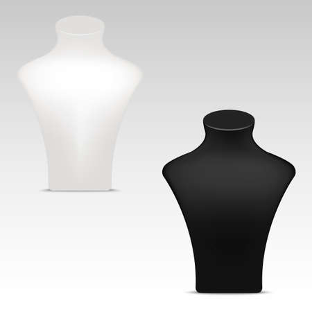 White and black necklace mannequin stand for jewelry. Vector close up .