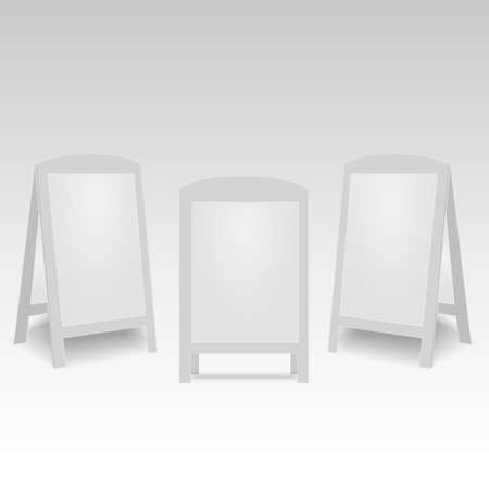 Set of blank advertising street handheld stands