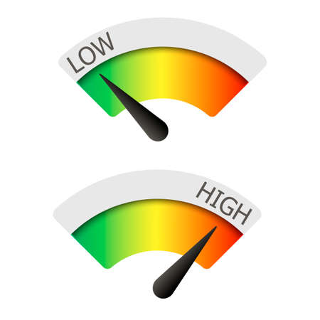 Low  and High gauges. Vector illustration.  Vettoriali