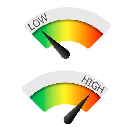 Wskaźniki niskiego i wysokiego. Ilustracji wektorowych. Ilustracje wektorowe
