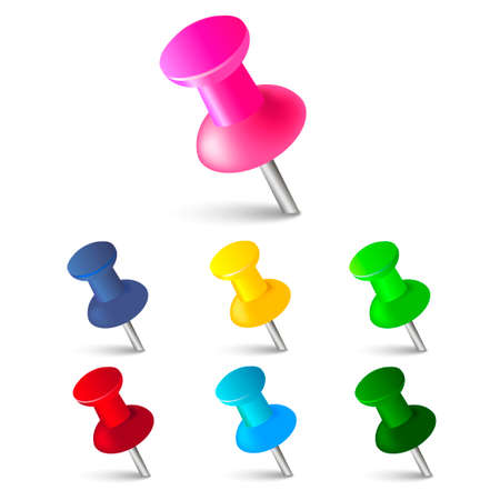 Set of push pins in different colors. Thumbtacks. Top view. Vector illustration Illustration