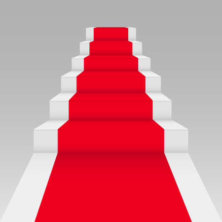 Staircase and red carpet. 3d illustration isolated on grey background. Vector.