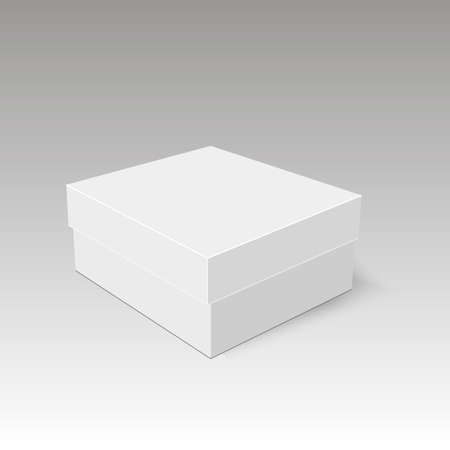 White product cardboard package box. Illustration   Vector     イラスト・ベクター素材