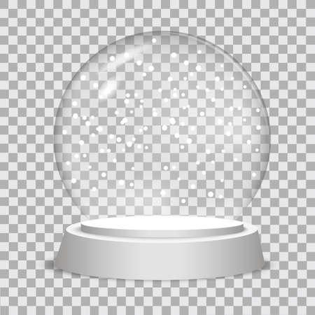 Christmas snow globe on transparent background.  Vector illustration.  Illustration