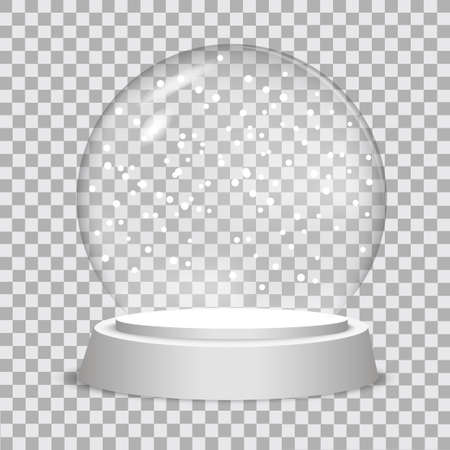 Christmas snow globe on transparent background.  Vector illustration.  Stock Illustratie