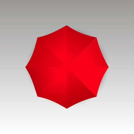 Bovenaanzicht van rode paraplu. Vector