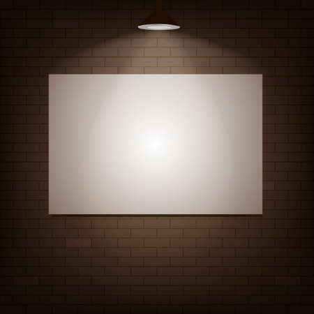 White board on a brick wall with illuminated lamp with soft light. Vector illustration