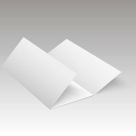 Blank Trifold White Template Paper With Soft Shadows Vector Royalty