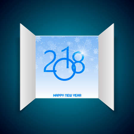 Happy New Year greeting card with opened window and snow on blue background. 2018 Vector.