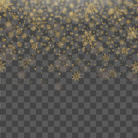 Christmas and New Year transparent background with falling gold snowflakes. Vector .