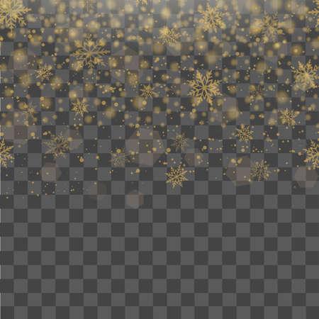 Navidad y año nuevo fondo transparente con la caída de copos de nieve de oro. Vector. Ilustración de vector