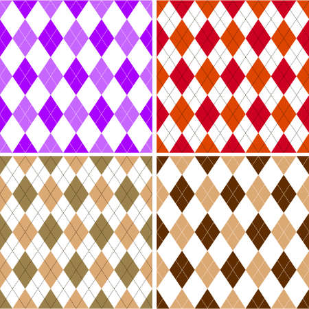 Seamless argyle pattern in shades with white stitch. Vector illustration.  Illustration