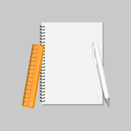 Spiral note pad , ruler and pen. Vector illustration Illustration