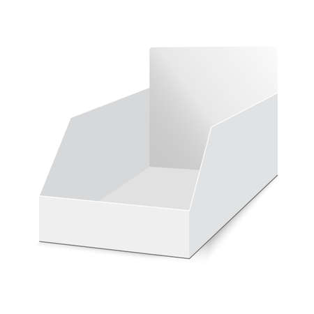 POS POI cardboard blank empty display show box holder. Vector mock up template ready for your design.