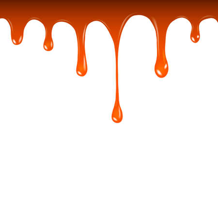 Vector liquid caramel drip pattern isolated on a white background. Liquid caramel streams  Ilustrace