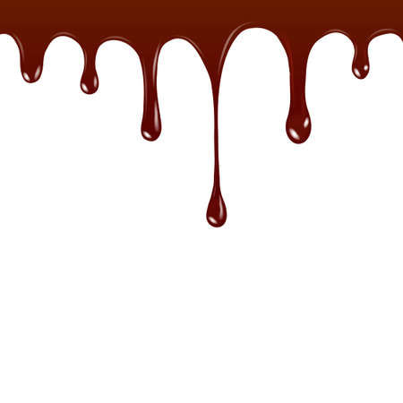 Vector Chocolate syrup drip pattern isolated on a white background. Chocolate streams