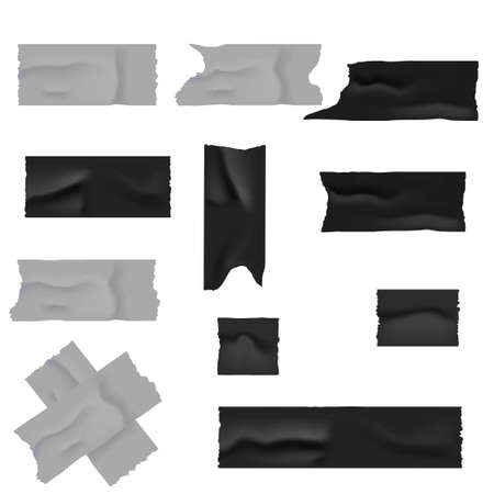 Realistic silver and black duct adhesive tape. Vector illustration