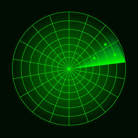 Digital radar with the aims on monitor. Isolated on black background. Vector illustration
