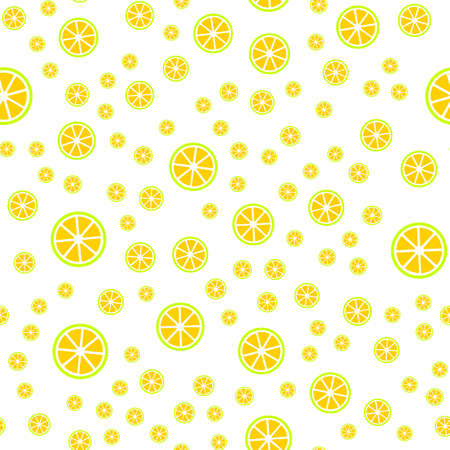 Seamless pattern with slice of lemons.  Vector illustration