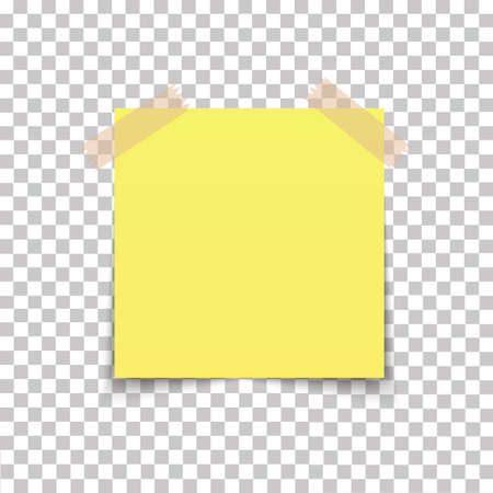 Office paper sheet pin on sticky tape with shadow isolated on a transparent background. Vector