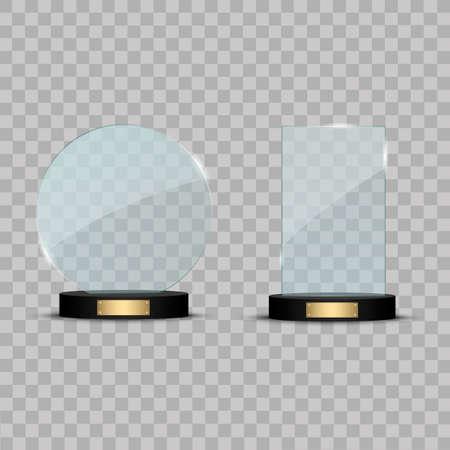 Glass Trophy Award. Vector illustration isolated on transparent background Vektoros illusztráció