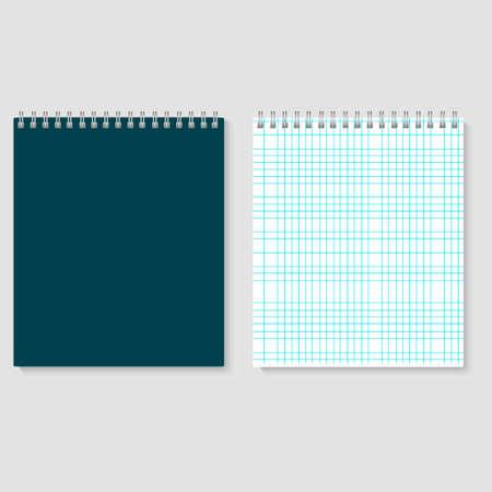 Blank realistic spiral squared notebook mockup. Vector illustration