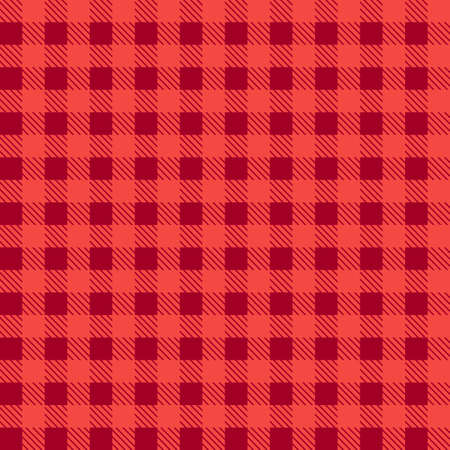 Red seamless tablecloth Vector.   Seamless traditional tablecloth pattern Vector.   Geometrical simple square pattern.  Illustration