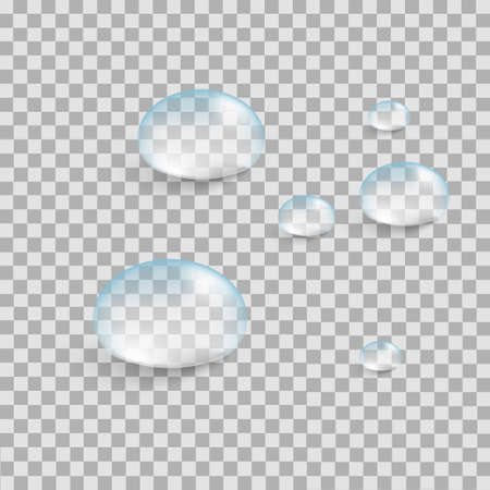Realistic pure water drops set isolated on a transparent background. Vector illustration