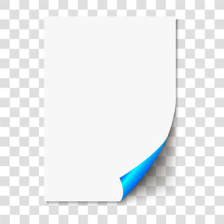 Blue page curl on empty sheet paper with shadow. Realistic blank folded page on transparent background. Vector illustration.