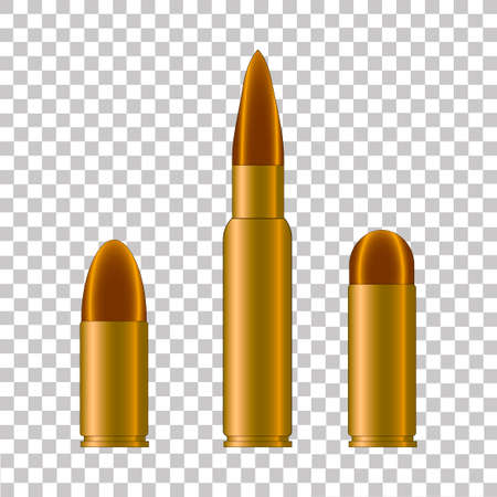 Cartridge case and bullet from weapon.Vector illustration