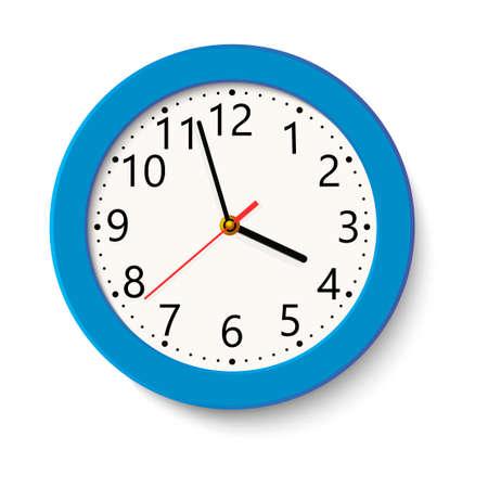 Klasyczny niebieski okrągły zegar ścienny na białym tle. Ilustracji wektorowych.