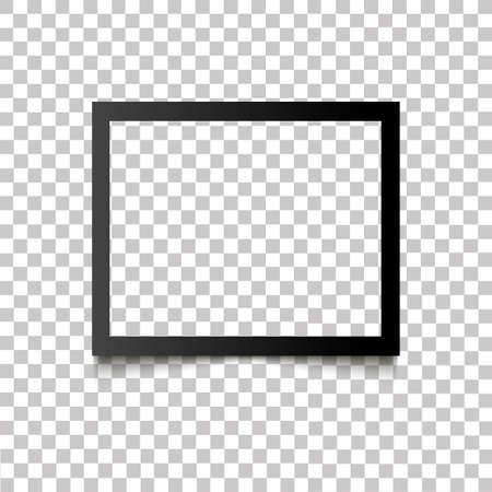 Realistisch leeg zwart fotokader met schaduw op transparante achtergrond. Vector illustratie retro foto frame sjabloon foto ontwerp. Vintage-stijl.