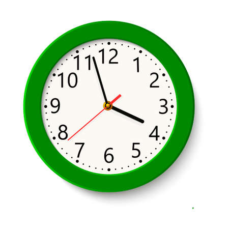 Classic green round wall clock.