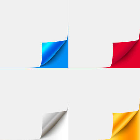 Set of colorful curled paper corners for advertising and sale promo.  vector paper with curl corner for book, brochure curled page.  Иллюстрация