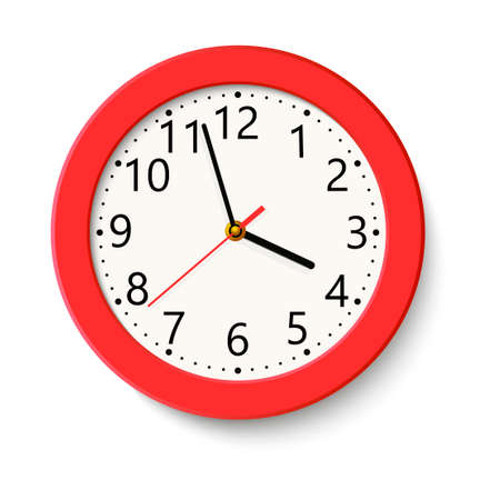 Classic red round wall clock isolated on white background . Vector illustration