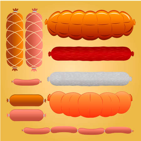 Set of Meat Set - Wurst, Liver, Salami, Ham, Chorizo and Sausage detailed vector illustrations.