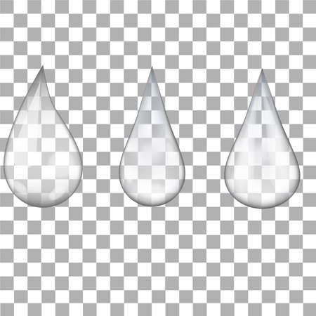 Set of transparent water drops on transparent background.