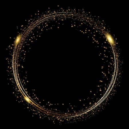 Streszczenie okrągłe świecące światła i złote iskierki. Wektor.