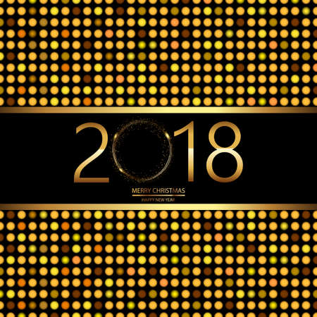 Happy New Year background with disco lights on black. Vector. Illustration